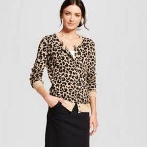 EUC Cheetah Leopard Button Up Cardigan Stretch S